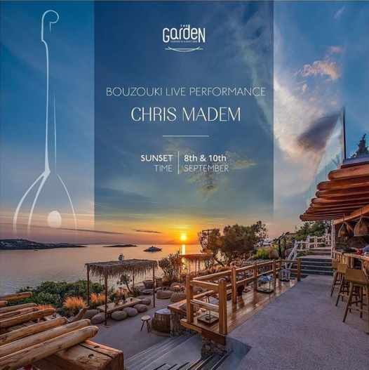 September 8 and 10 2021 The Garden of Mykonos presents live bouzouki music at sunset