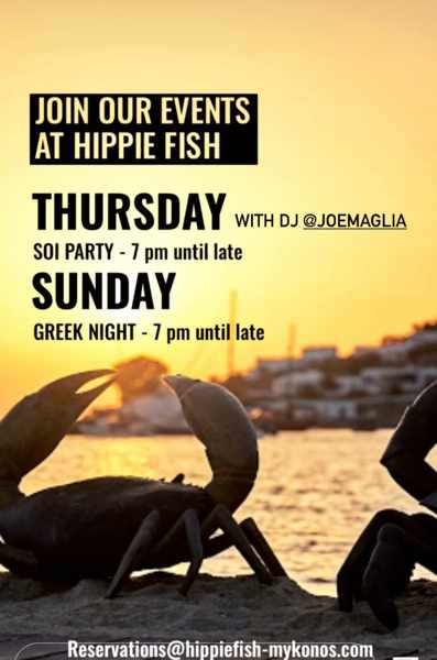 September 9 and 12 2021 events at Hippie Fish Mykonos