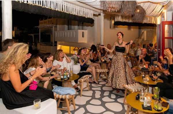 Singer Kelly Kaltsi at 54 Cocktail Lounge & Skybar on Mykonos