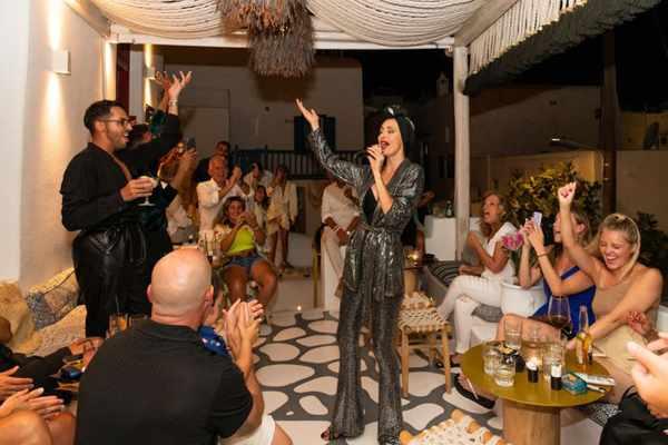 Singer Kelly Kaltsi performing at 54 Cocktail Lounge and SkyBar on Mykonos