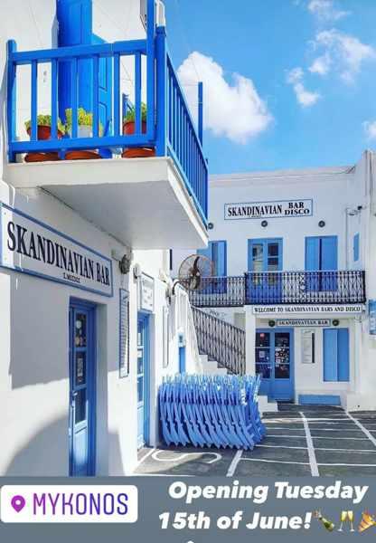 Skandinavian Bar Mykonos opening announcement for 2021