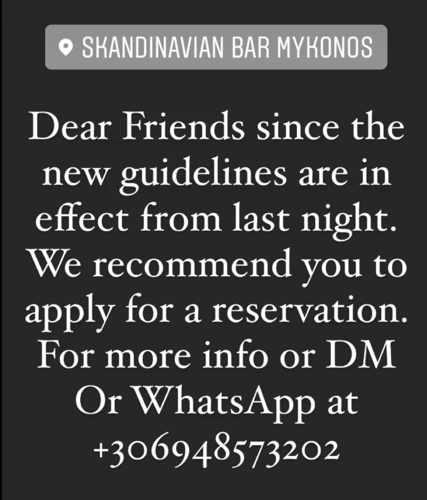 Skandinavian Bar Mykonos social media announcement on July 9 2021
