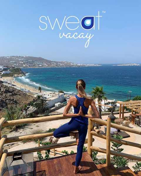 Sweat Vacay yoga pilates and cycling classes at The Garden of Mykonos