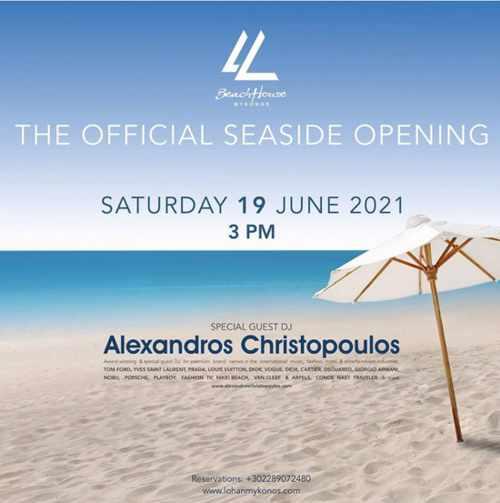 Lohan Beach House Mykonos opening party 2021