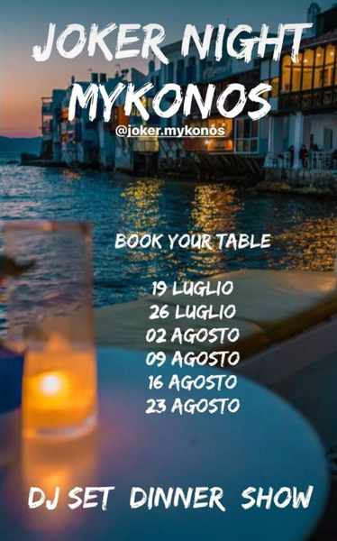 Joker Mykonos dinner show and party events 2021