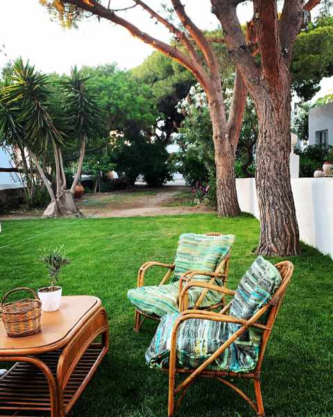 The garden at Secret Garden Apartmens on Mykonos seen in an image from the propertys page on Facebook
