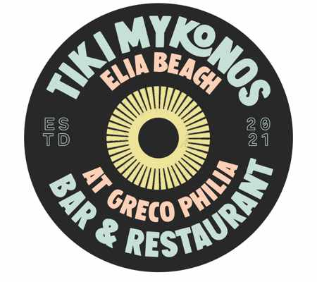 The logo for Tiki Mykonos bar and restaurant at the Greco Philia Hotel on Mykonos