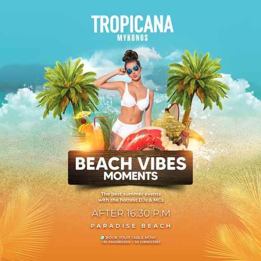 Tropicana beach club Mykonos daily parties during summer 2021