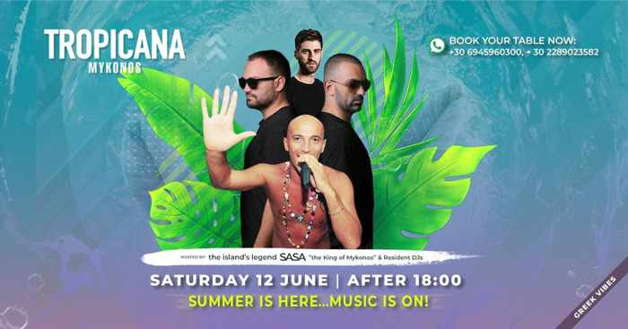 Tropicana beach club Mykonos Summer is Here announcement on social media