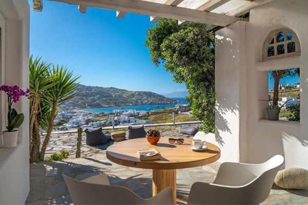 Ornos Blue Guesthouse Mykonos patio view
