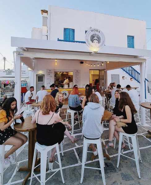 Woba streetfood Mykonos seen in an image from the restaurants Instagram page