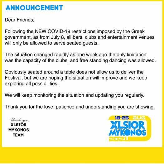 XLSIOR Mykonos Festival announcement regarding new Greek regulations for bars and clubs