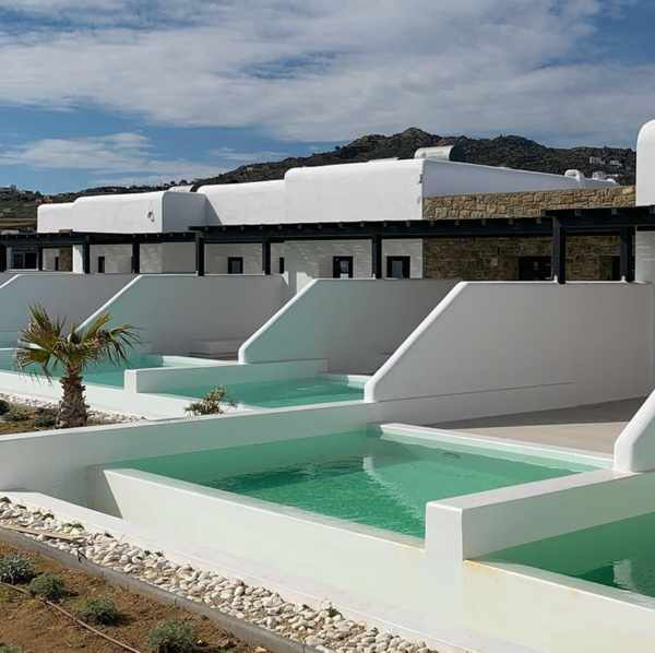 Swimming pools at Agrari Black Villas on Mykonos