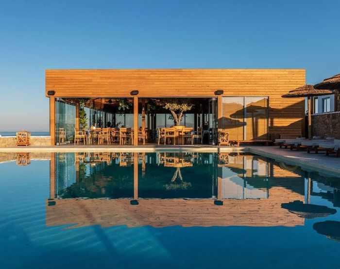 Pool and restaurant at Destino Pacha Mykonos hotel