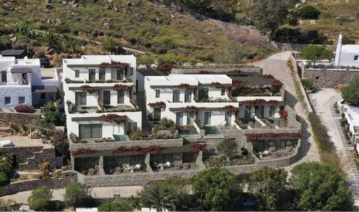 Aerial view of Noima Mykonos Luxury Suites Hotel