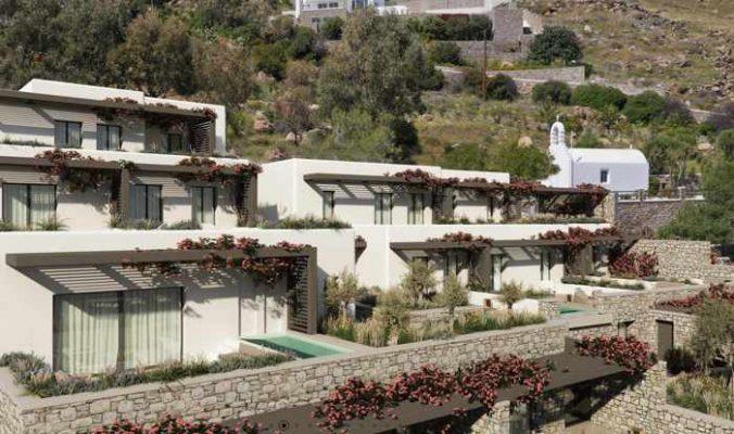 Aerial view of Noima Luxury Suites on Mykonos