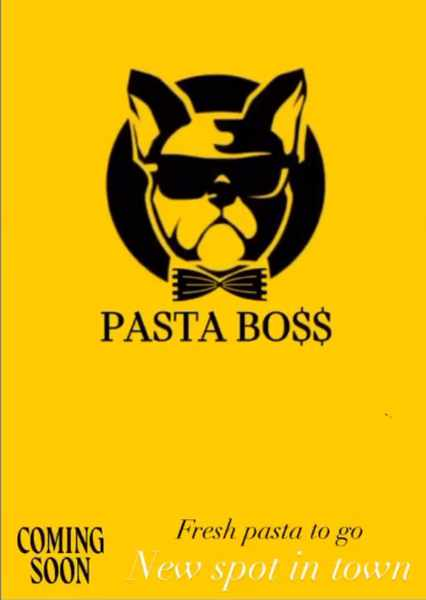 Coming soon announcement for Pasta Boss shop on Mykonos