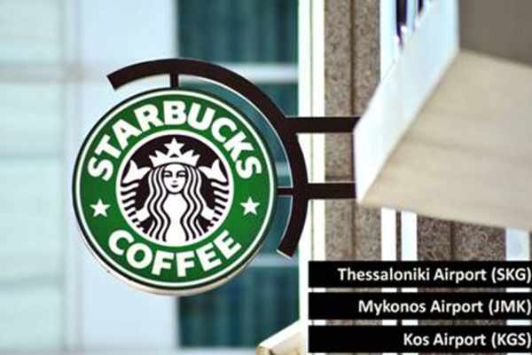 Promotional image for new Starbucks outlets at airports in Greece