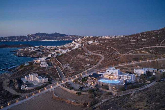 An aerial view photo of UBUD luxury hotel on Mykonos