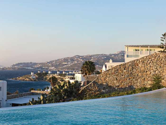 View from the swimming pool at Mykonos Earth Suites
