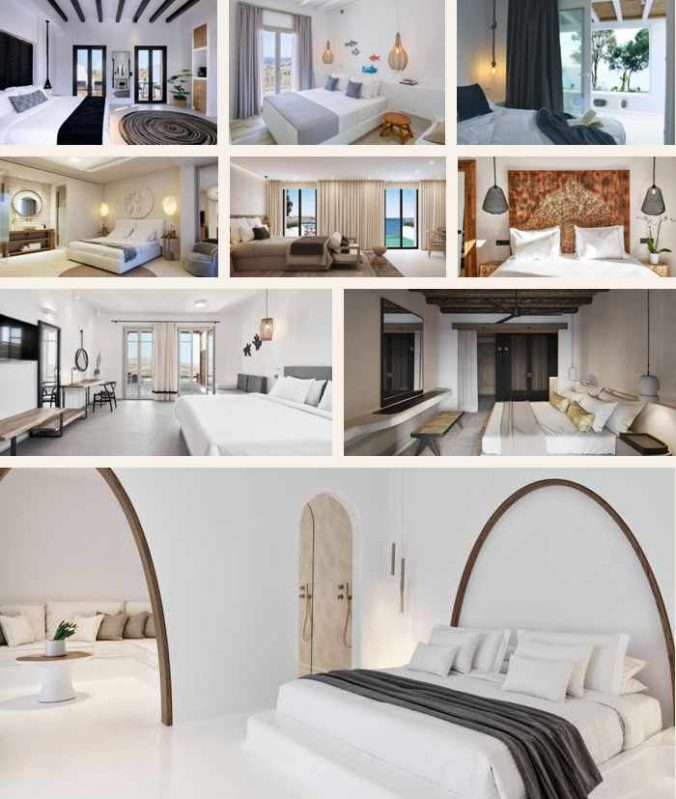 Bedrooms at some of the new hotels opening on Mykonos in 2021