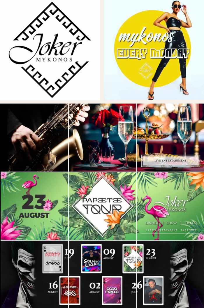Joker Mykonos weekly dinner show and DJ party events on Mykonos