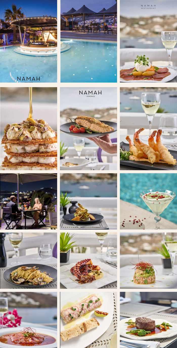 Namah Mykonos restaurant at the Kivotos Hotel on Mykonos