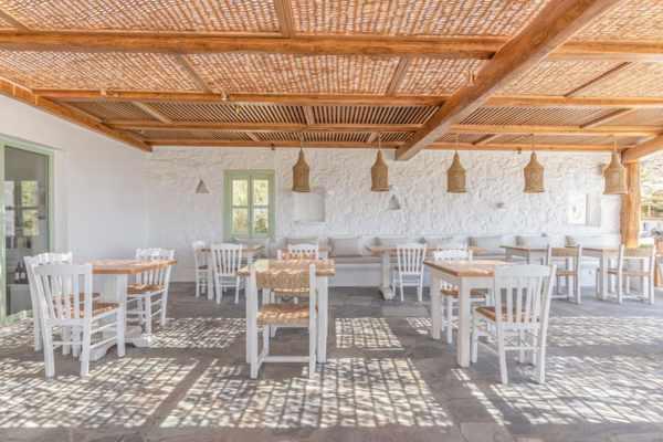 Open air dining terrace at Mathios Tavern on Mykonos