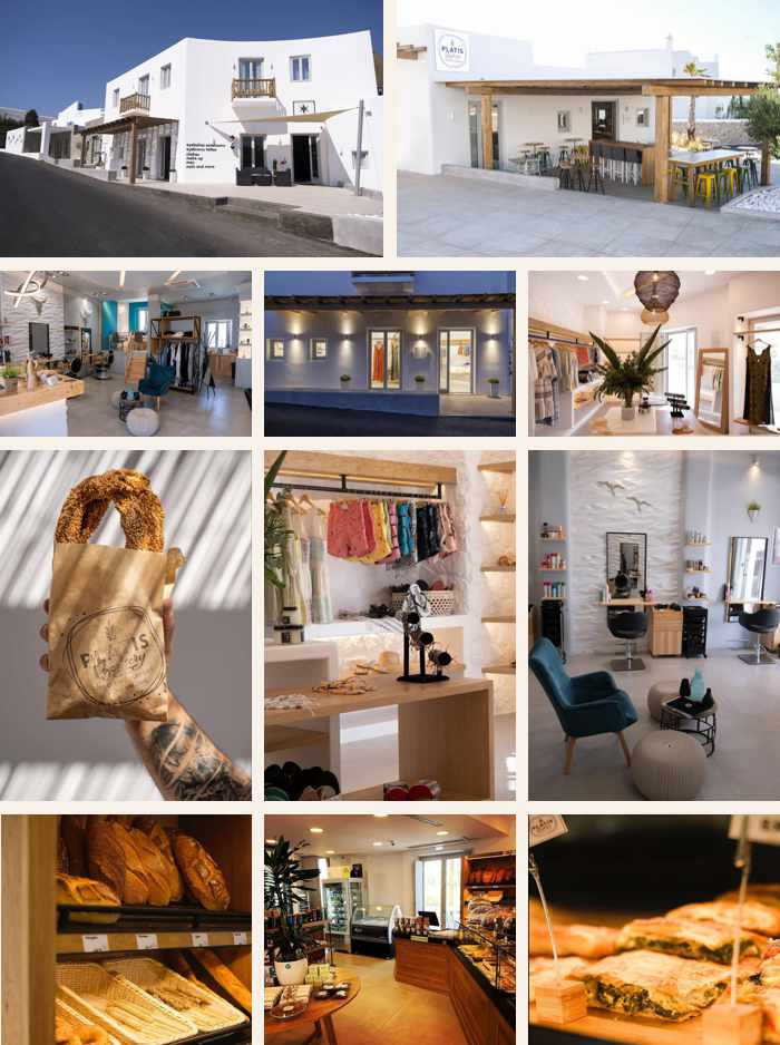A collage of photos of new shops at the Argo Hotel on Mykonos