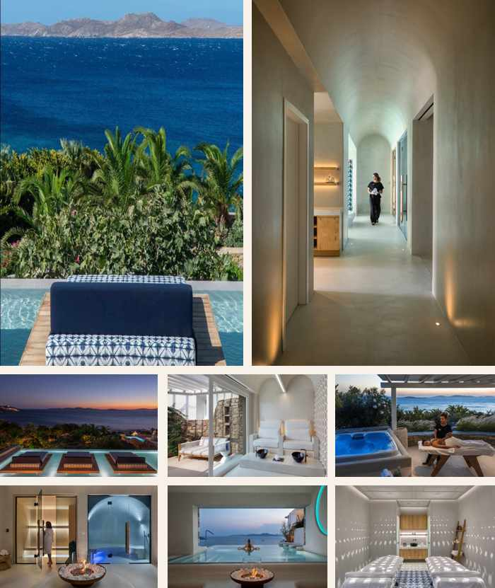 A collage of photos of Althea Spa Retreat at the Mykonos Grand Resort on Mykonos
