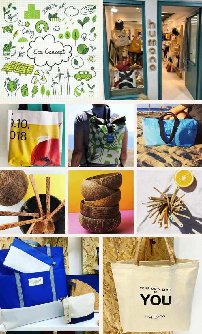 a collage of photos of the Humano Mykonos retail shop and its products