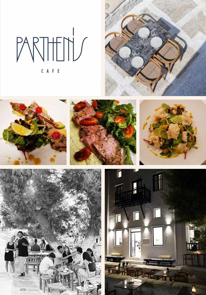 a collage of photos of Parthenis Cafe in Mykonos