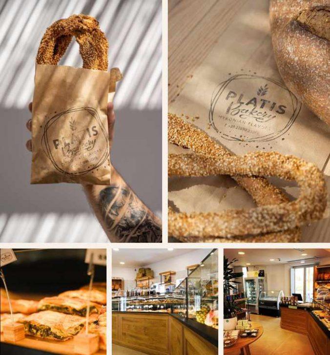 a collage of photos of Platis Bakery at Platis Gialos beach on Mykonos