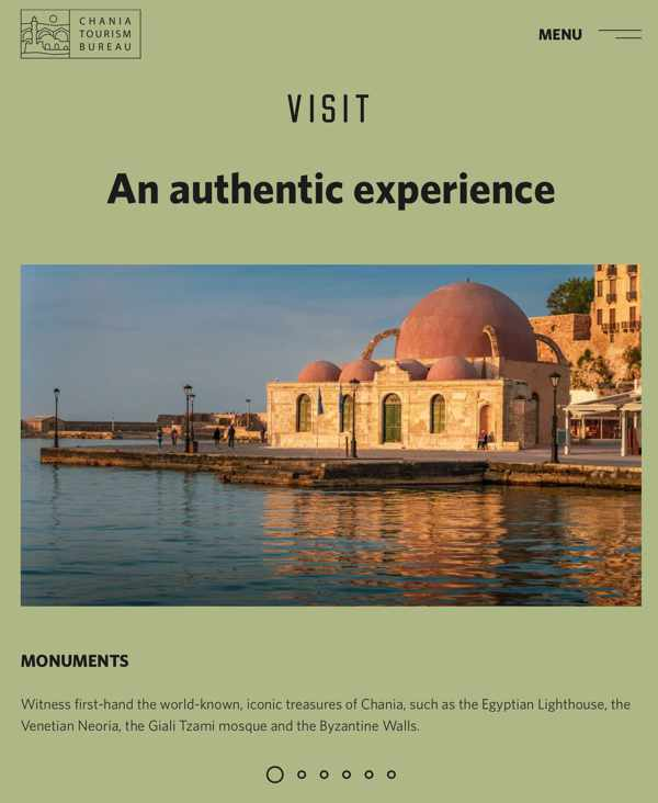 SCreenshot of the visit page of the Chania tourism website