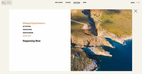 Screenshot of the dont miss page of the Chania tourism website