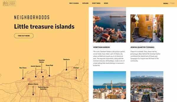 Neighbourhoods section of the Chania Crete tourism website