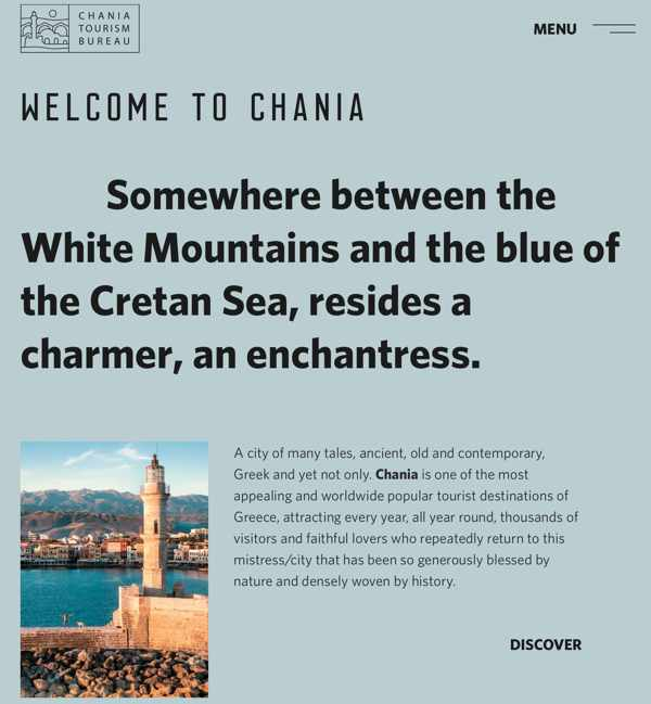 Screenshot of the welcome page of the Chania tourism website