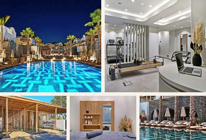 Spa gym and pool at the Radisson Zaffron Blu Resort on Santorini