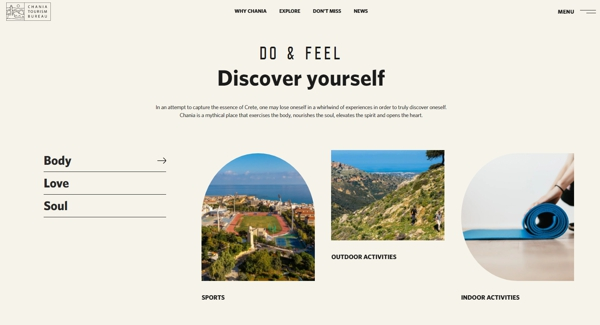 screenshot of the discover yourself page of the Chania tourism website